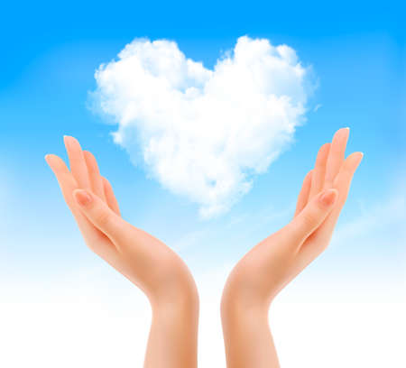 Holiday valentine background with hands holding heart shaped cloud. Valentines holiday background. Vector Vector