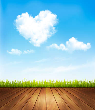 Nature background with a blue sky and heart shaped cloud.Vector illustration Vector