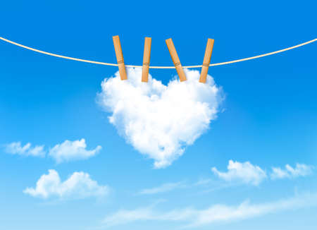Heart shaped cloud on rope. Nature beautiful background. Vector Vector
