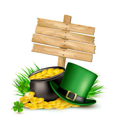 patric background: Saint Patricks Day background with clover leaves, green hat and gold coins in a cauldron. Vector illustration.