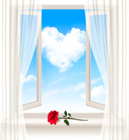 open window: Background with an open window and a red flower. Vector.