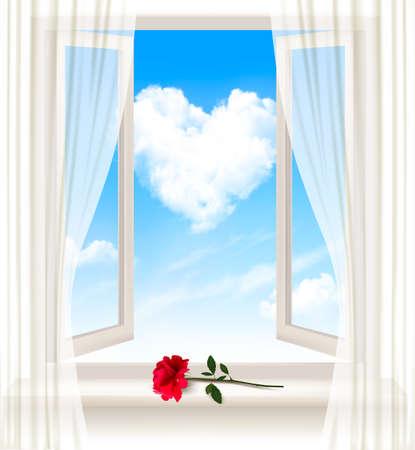 ventana abierta: Fondo con una ventana abierta y una flor roja. Vector.