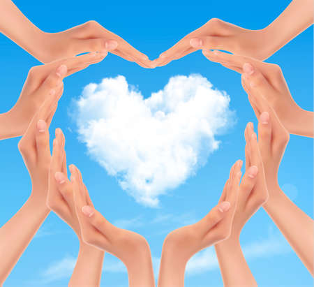 Holiday background with hands making a heart. Valentines Day. Vector Vector
