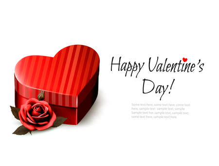 heartshaped: Holiday vintage Valentine`s day background. Red rose with red heart-shaped gift box. Vector