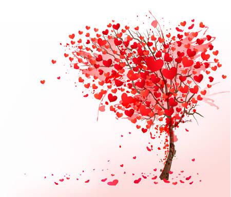 corazon: Fondo de San Valentín con el árbol en forma de corazón. Vector.