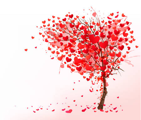 valentine passion: Valentine background with heart shaped tree. Vector.