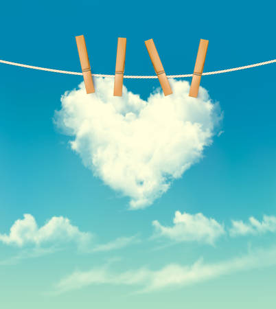 Valentine background with a heart shaped cloud. Vector. Иллюстрация