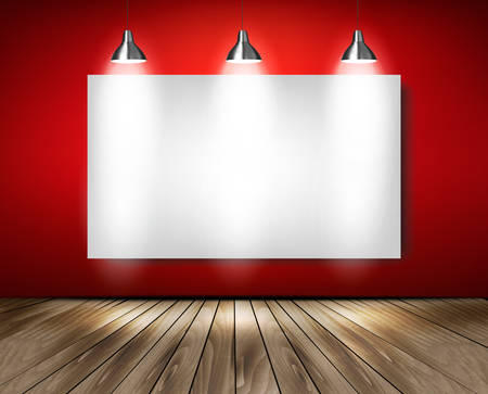 Red room with spotlights and wooden floor. Vector. Illustration