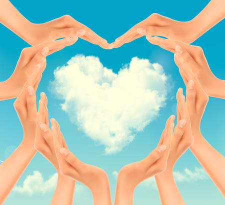 Retro Holiday background with hands making a heart and cloud. Valentines Day. Vector Vector