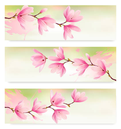 Three Spring banners with blossom brunch of pink flowers. Vector Vector