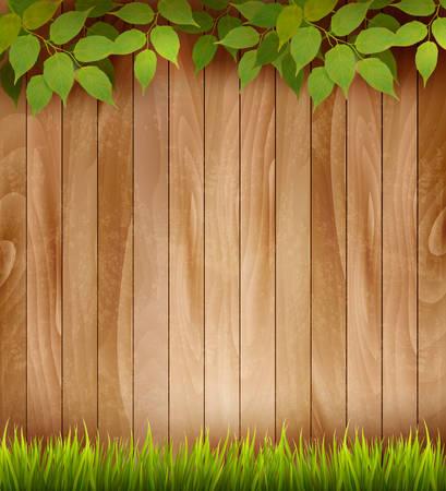 marco madera: Fondo de madera natural con hojas y hierba. Vector.