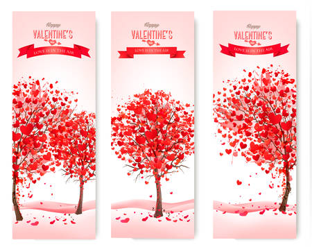 edit valentine: Three Holiday banners. Valentine trees with heart-shaped leaves. Vector