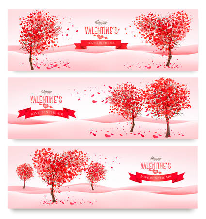 Three Holiday banners. Valentine trees with heart-shaped leaves. Vector