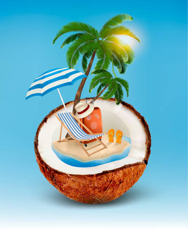 coconut: Vacation concept. Palm tree, suitcase and an umbrella in a coconut. Vector.