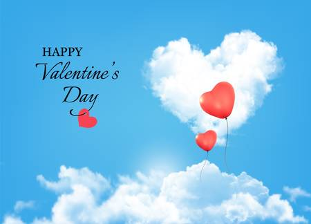 Valentine background with heart clouds and balloons. Vector. Vector
