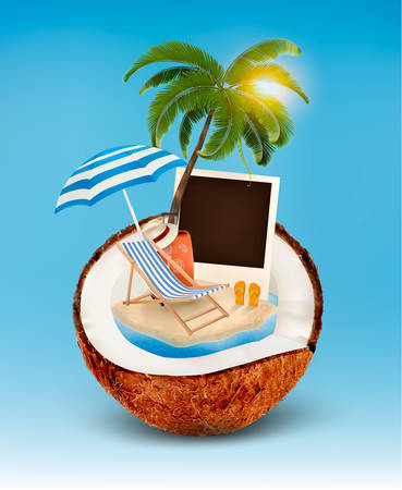 flops: Vacation concept. Palm tree, suitcase and a photo in a coconut. Vector.