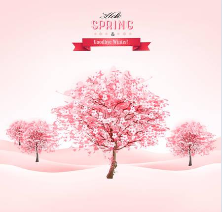 flor de sakura: Primavera de fondo con �rboles de sakura florecimiento. Vector. Vectores
