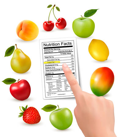 totals: Fresh fruit with a nutrition facts label and hand. Vector