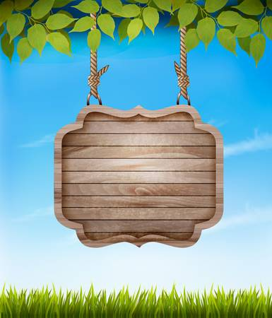 farm sign: Natural background with leaves and a wooden sign. Vector. Illustration