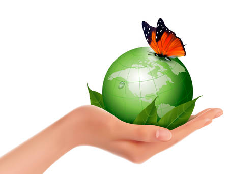 hand holding globe: Green world with leaf and butterfly in woman hand. Vector illustration. Illustration