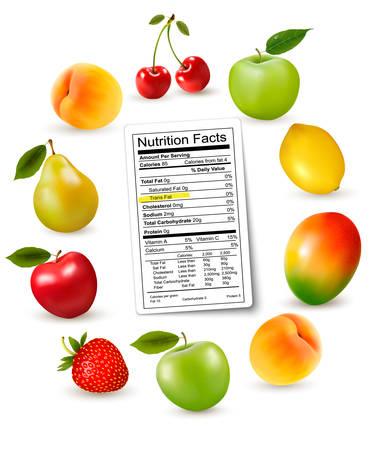 grasas saturadas: La fruta fresca con una etiqueta de información nutricional, Vector Vectores