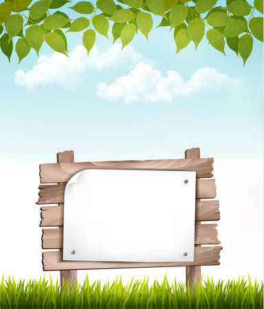 farm land: Natural background with leaves and a wooden sign. Vector. Illustration