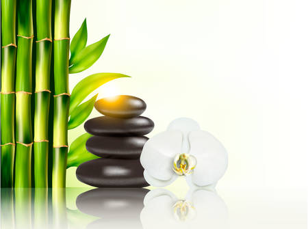 lastone: Spa background with bamboo and stones.Vector