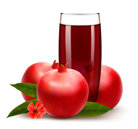 grenadine: Glass of pomegranate juice with fruit. Vector.