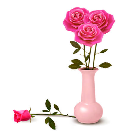roses in vase: Holiday background with pink roses in a vase. Vector.