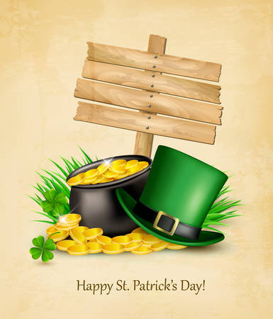 patric background: Saint Patricks Day background with a sign, clover leaves, green hat and gold coins in a cauldron. Vector illustration.