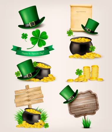 st  patrick's: Set of St. Patricks Day related icons. Vector.