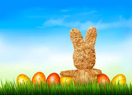 Holiday Easter background with straw rabbit and easter eggs. Vector illustration. Vector