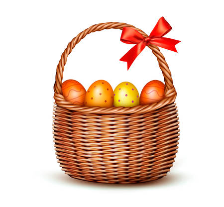 Basket with Easter eggs and a red bow. Vector.