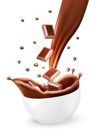 Splash van bruin warme chocolademelk in witte kom. Vector. Stock Illustratie
