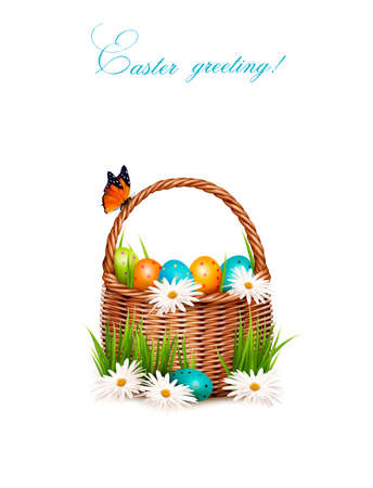 Happy Easter background. Basket with eggs, daisies, grass and a butterfly. Vector.