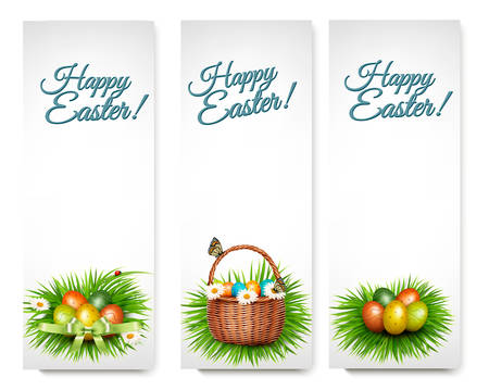 grren: Three Happy Easter banners with easter eggs in a basket and grren grass. Vector.