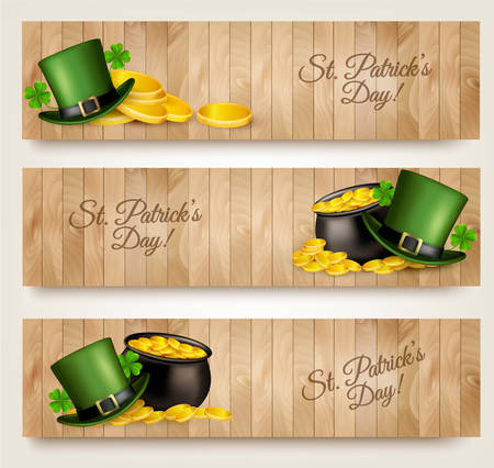 editable sign: Three Saint Patricks Day banners with lover leaves, green hat and gold coins in a cauldron. Vector. Illustration