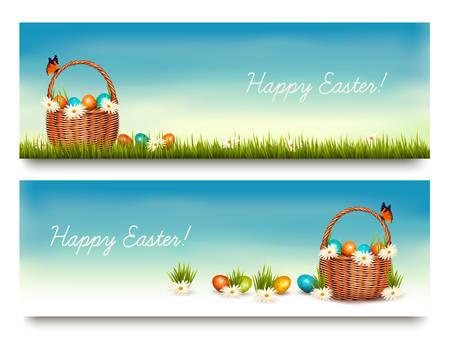 huevo: Dos banderas Feliz Pascua con los huevos de Pascua en una cesta. Vector. Vectores