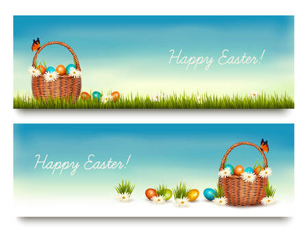 egg white: Two Happy Easter banners with easter eggs in a basket. Vector.