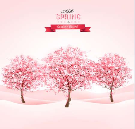 꽃이 만발한: 꽃이 만발한 벚꽃 나무와 봄 배경입니다. 벡터. 일러스트