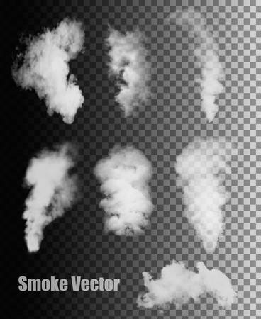dark cloud: Smoke vectors on transparent background.