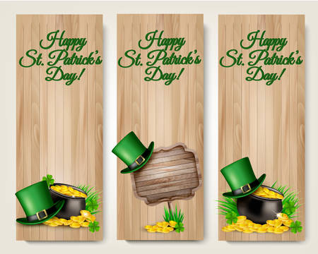 patric banner: Three Saint Patricks Day banners with lover leaves, green hat and gold coins in a cauldron. Vector. Illustration
