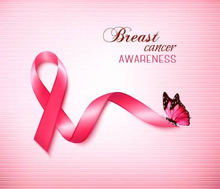 seni: Sfondo con rosa Breast Cancer Ribbon e la farfalla. Vettore