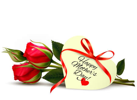 madre soltera: Rosas con la tarjeta de regalo del día de madre feliz. Vector.