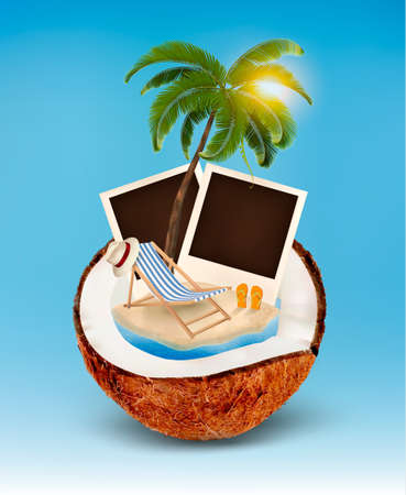 flops: Vacation concept of Palm tree, photos and beach chair in a coconut.