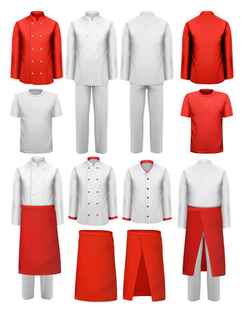 green clothes: Set of cook clothing - aprons, uniforms. Vector. Illustration