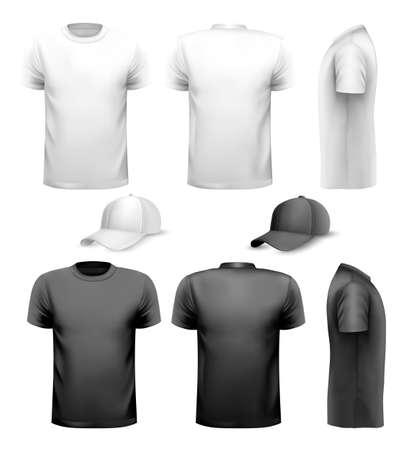 omini bianchi: In bianco e nero uomini t-shirt e tazza. Modello di progettazione. Vettore.