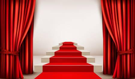 Showroom con la alfombra roja que conduce a un podio con cortinas. Vector