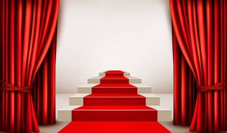 stage decoration abstract: Showroom with red carpet leading to a podium with curtains. Vector