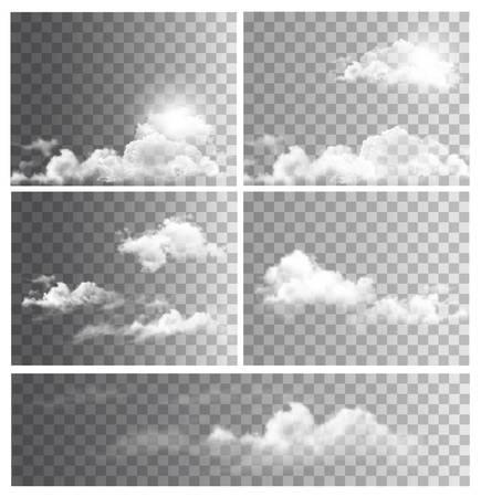 Jogo dos fundos com transparentes nuvens diferentes. Vector. Ilustração